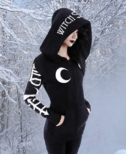 Gothic Wicca Pagan Witchy Jacket Pullover Hoody Moon okkult S M L XL XXL