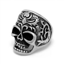 Cool Titanium Steel Ring Male Classic Flame Skull Ring Best Gift to Friend PUNK