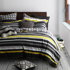 Platinum Logan and Mason Conway Charcoal Duvet Doona Quilt Cover Set 4 Bed Sizes