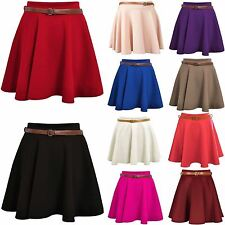 Ladies Skirts Womens Belted Flared Plain Mini Skater Skirt Sizes UK 8 10 12 14