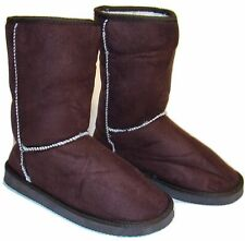 Womens Coffee Brown Faux Suede Sherpa Lined Warm Winter Boots - Size 6