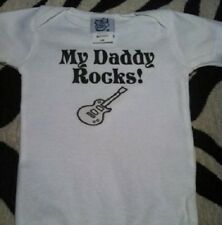 My Daddy rocks baby shirt funny baby guitar clothes infant tshirt new one piece