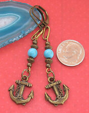 ANCHOR Charm Bronze Tone Lever Back Earrings OPTIONS: Howlite, Crystal, Crackle