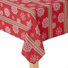 St. Nicholas Square Holiday Striped Snowflake Fabric Christmas Tablecloth