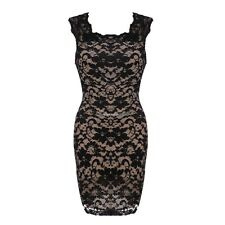 Women Lace Sleeveless Bodycon Square Neck Floral Career Party Pencil Mini Dress