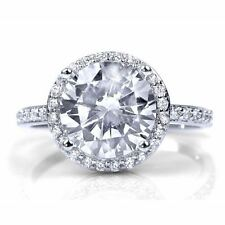 3 ctw Round Cut HALO cubic zirconia Engagement Ring, half eternity