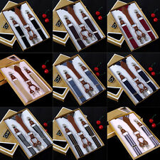 Super New Mens Womens Adjustable Elastic Braces Suspenders Pants 4 Clips-On Belt