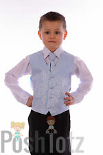 Boys Suits Pageboy Formal Wedding Suit 4pc Sky Blue Swirl 0-3mths-15yrs