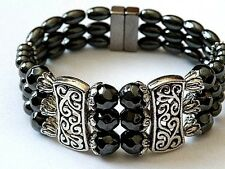 Men's Womans Triple Magnetic Hematite Black Tibetan Silver Bracelet Anklet 3 row