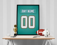 Miami Dolphins Jersey Poster - Personalized Name & Number FREE US SHIPPING