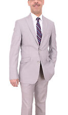 Kenneth Cole Reaction Slim Fit Gray Pinstriped Two Button Suit With Peak Lapels