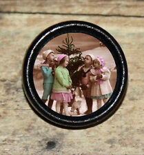 VICTORIAN XMAS Boy Girl Tree photo Altered Art Tie Tack or Ring or Brooch pin