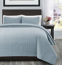 100% Polyester Microfiber 3PC Stone Blue Bed Quilt Coverlet Bedspread Set-3 Size