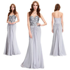 Strapless Sequined Womens Evening Party Dress 8 Chiffon Prom Formal Ball Gown