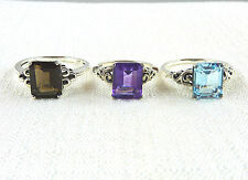 Genuine Topaz, Quartz and Amethyst 925 Sterling Silver Solitaire Rings