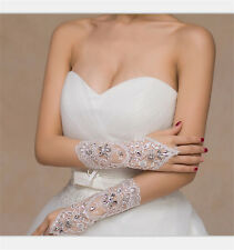 White/IvoryCrystal Wedding Bridal Accessory Beaded Lace fingerless gloves  SN