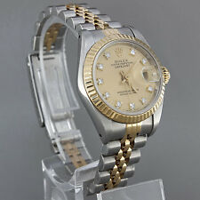 Womens Diamond Dial ROLEX OYSTER PERPETUAL Date Just 28ML Watch 69173 {DJ13}