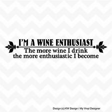 WINE ENTHUSIAST vinyl wall art sticker decal home bar kitchen decor removable