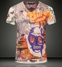 Men's Classic Skull Head Design Cotton V-neck Just Cavalli Butterfly Tee Shirt