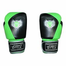 Muay Thai Boxing Sparring Training Domino KickBoxing Gloves Neon Green Black