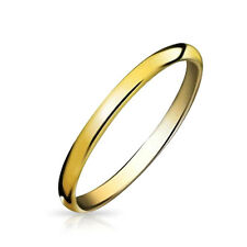Bling Jewelry Gold Plated Tungsten Unisex Wedding Band Ring 2mm