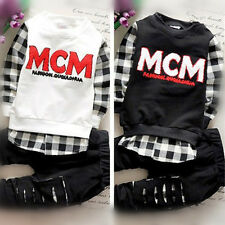 Cute 2PCS Newborn Kids Baby Boy T-shirt Tops+Long Pants Outfits Set Tracksuit