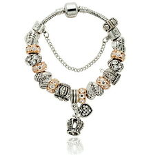 Crystal Beads Crown Charm Bracelet Silver Plated Alloy European Beads Bracelets