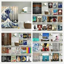 Various Pattern Shower Curtain 3D Waterproof Polyester Bath Curtain w/ 12 Hooks