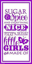 SUGAR AND SPICE ... LITTLE GIRLS vinyl wall sticker nursery bedroom decal decor