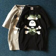 Men's Classic Bape Mushroom Monkey Head Design Skull Round Neck Aape Tee Shirt