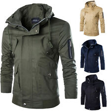New Men Cotton Coat Over Size Zipper Stand Trench Overcoat Long Jacket Outwear H