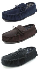 Mens Mokkers Real Suede Leather Moccasin Slippers BROWN BLACK BLUE Size 6-15
