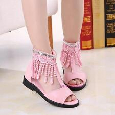 New Spring Summer Kids Young Girls Tassel Mesh Matin Mid-top Open-toed Sandals