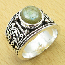 925 Sterling Silver Overlay Natural LABRADORITE Size UK P Ring PRETTY Gift