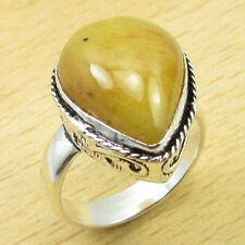 YELLOW AVENTURINE Gemset ! 925 Silver Overlay TRADITIONAL Ring Size UK N NEW