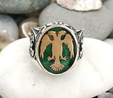 Handmade 925 Sterling Silver German Eagle in Green FASHION Men's RING #C35