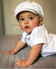 Born to Love Baby Boy (2 Szs) White Ivy Newsboy Cap- Choose Suspenders & Bow Tie