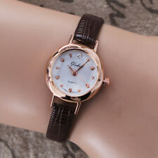 Fashion Women Quartz Watch Small Dial Thin Leather Casual Wristwatch Gold Case