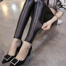 Sexy Womens Faux Leather Wet Look Leggings Trousers Slim High Waist Pants New