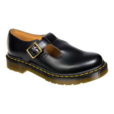 Ladies Dr Martens Polley Black Smooth Leather Buckle T Bar Flat Mary Jane Shoes