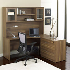 "Unique Modern Walnut 63"" Desk With Hutch & Lateral File"