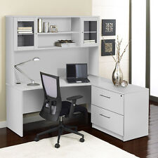 "Unique Modern White 63"" Desk With Hutch & Lateral File"