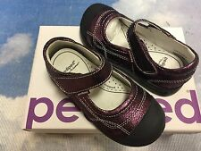 Pediped Girls Flex Purple Leather V Mary Janes Size 24  / Toddler Size 8