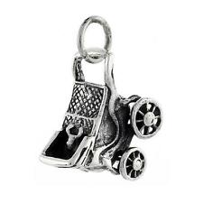 """Sterling Silver Movable Baby Stroller 3D Pendant / Charm, 18"""" Italian Box Chain"""