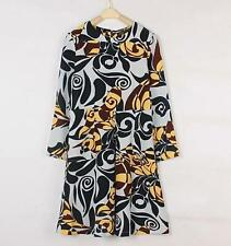 Hot Women's Leaves Printing Long Sleeves Elegance Shirt NEW Style Dress 3Size