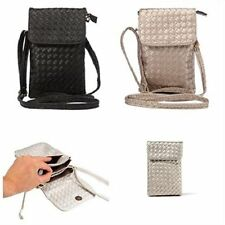 Women Wallet Purse Woven Coin Cell Phone Case Mobile Pouch Mini Shoulder Bag New