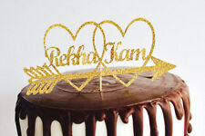 Name wedding cake topper Personalised gold glitter name wedding cake topper.