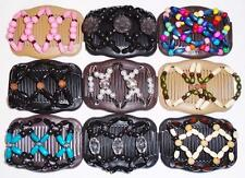 Double Magic Hair Combs, African Style Butterfly Clips, Multicolor Beads S19