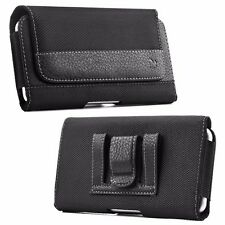 Black Leather Cell Phone Case Pouch Protective Carrying Belt Loops Holster Clip
