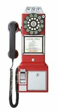 Crosley Old Fashioned 1950 Classic Rotary Dial Pay Phone Vintage Telephone Red